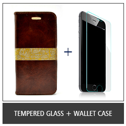 Tempered Glass + Wallet Case